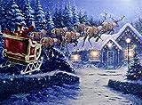 Santa und Schlitten, LED-Licht bis Weihnachten Leinwand gedruckt Bild, 40cm x 30cm