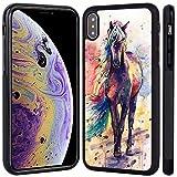 Coque iPhone XS Max Muuma Animal Horse Ne Se fane jamais Noir Coque TPU et PC...