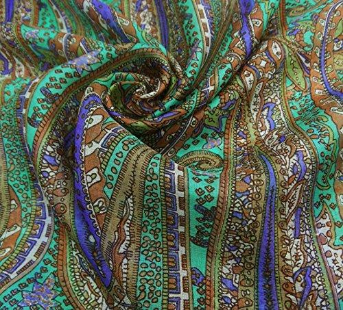 """Foulard En Soie Souple Rectangle Paisley Mode Femmes New Wrap Summer Stole 70 """"x 20"""" Pouces Vert et Bleu"""