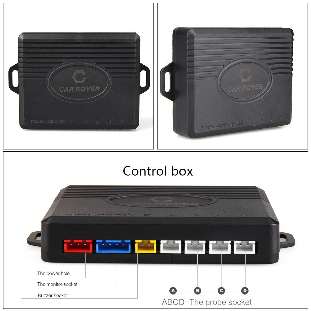 CAR ROVER Sensor Aparcamiento Kit 4 Sensor Marcha Atras con Zumbador Bibi Alarma de Sonido Blanco