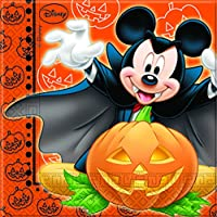 Procos 82356 - Tovaglioli Carta Mickey Halloween, 33 x 33 cm, 2 Veli, 20 Pezzi, Arancione/Nero