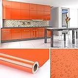KINLO Folia do mebli pomarańczowa 61 x 500 cm z wysokiej jakości folii PCW, folia samoprzylepna, tapeta kuchenna, naklejki do