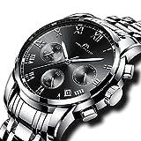 Herren Edelstahl Uhren Männer Chronograph Luxus Design Wasserdicht Datum Kalender Armbanduhr Geschäfts Beiläufig Kleid Analog Quarz Uhr mit Römische Ziffern Zifferblatt Silber Uhrenarmband (Schwarz)