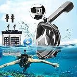 Vollmaske zum Schnorchel-Maske, 180-Grad-Blick, Vollgesichtsmaske, freie Atmung, Tauchmaske Taucherbrille Tauchmaske für Erwachsene und Kinder, Anti-Beschlag- und Anti-Auslauf-Technologie, mit GoPro Kamera-Halterung, 2Stück, wasserdicht, 1Paar, Ohrstöpsel, Größe S/M), black S/M, S/M
