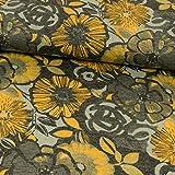 Stoffe Werning Romanit Jersey große Blumen grau-gelb - Preis Gilt für 0,5 Meter