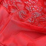 Odster - Lencería de Peluche de Porno de Encaje Transparente Abierto Sujetador de Entrepierna bebé muñeca lencería para Mujer Disfraz, Rojo, Large