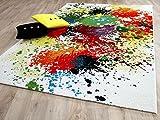 Funky Designer Teppich Splash Bunt Grün Türkis Gelb in 4
