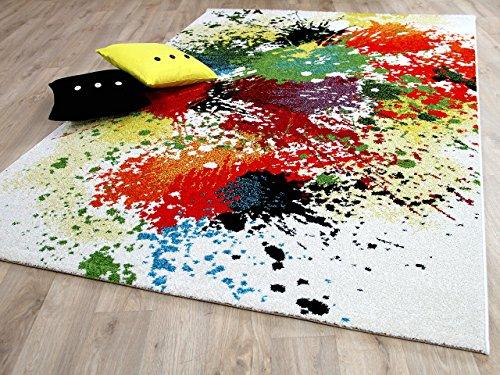 Funky Designer Teppich Splash Bunt Grün Türkis Gelb in 4 Größen - Funky Designer