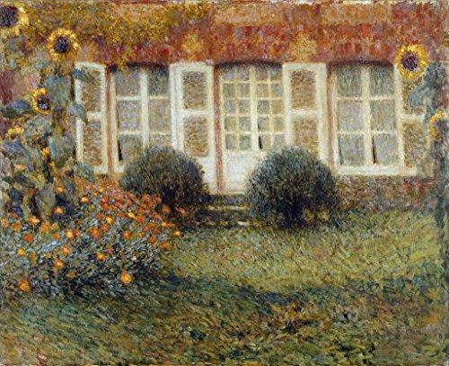 Kunstdruck / Poster: Henri Le Sidaner 'Gartenhaus und Sonnenblumen' - hochwertiger Druck, Bild,...