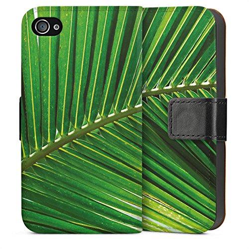 Apple iPhone 6 Housse Étui Silicone Coque Protection Plumeau de palmier Feuille Nature Sideflip Sac