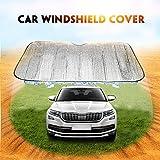 Onever Sonnenschutz für Autowindschutzscheibe, zum Schutz gegen UV-Strahlen, um das Fahrzeug kühl und frei von Schäden zu halten, einfache Anwendung, passt auf verschieden große Windschutzscheiben, 131 x  61 cm