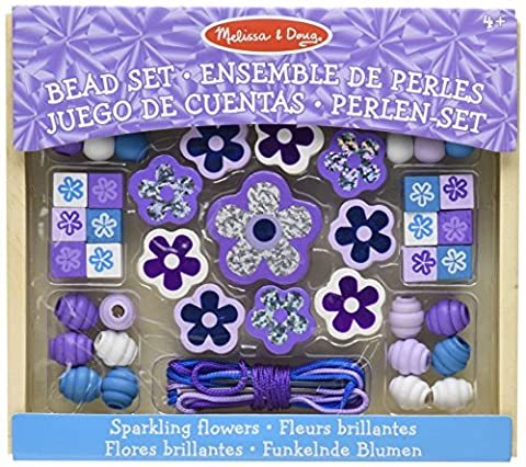 Melissa & Doug Sparkling Flowers Wooden Bead Set: 45+ Beads and 3 Lacing Strings - Bambini Perline