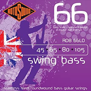 Rotosound Stainless Steel Standard Gauge Roundwound Double Ball End Bass Strings (45 65 85 105)