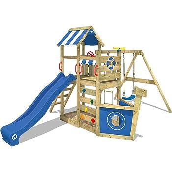 WICKEY Aire de jeux SeaFlyer Portique de jeux en bois avec balançoire, mur  d escalade, échelle de corde, bac à sable et accessoires, toboggan bleu 874ea4b6f5a3