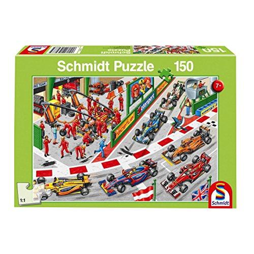 Schmidt Spiele 56288 Kinderpuzzle, was passiert beim Autorennen, 150 Teile, grün