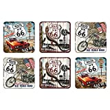 6 tlg Set Untersetzer - 9 x 9 cm - US Highways Route 66