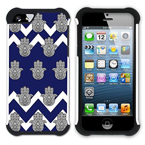 Graphic4You Monogramm Hamsa Hand der Fatima Winkel Muster (Wasserblau) Hart + Weiche Kratzfeste Hülle Case Schale Tasche Schutzhülle für Apple iPhone SE / 5 / 5S Marineblau