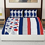 #9: Spaces Expressions 144 TC Cotton Double Bedsheet with 2 Pillow Covers - Striped, Navy