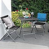 Park Alley Gartenstuhl in schwarz - klappbare Gartenstühle im 2er