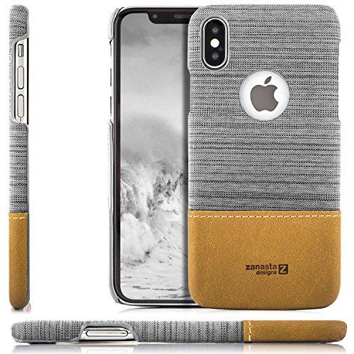 zanasta iPhone X Hülle Case, Denim Cover Hochwertige Schutzhülle Schale Handyhülle Ultra-Dünn und Leicht (Jeans Stoff) Hellgrau (Apple Jeans)