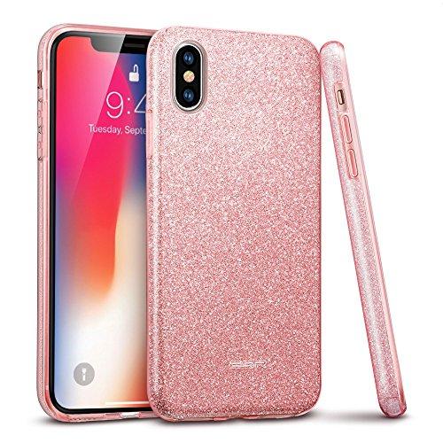 ESR iPhone X Hülle [Kabelloses Aufladen Unterstützung], Luxus Glitzer Bling [Glänzende Mode][Ultra Dünn] Designer SchutzHülle für Apple iPhone X / iPhone 10 5.8 Zoll 2017 Freigegeben. (Rose Gold)