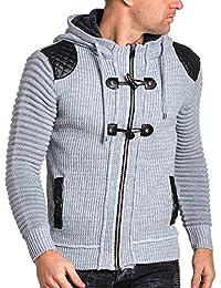 BLZ jeans - Gilet homme gris zippé capuche fourré