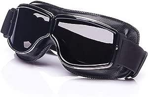 Galatée Motorradbrille Ski Motorrad Roller Brille Retro Fliegerbrille Helmbrille Winddichte Sonnenbrille Schwarze Rahmen Graue Linse Auto