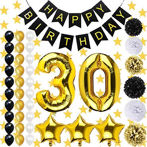 BAKHK 42 Stück Geburtstag Dekoration Set, Pompoms, Happy Birthday Banner, Ballon Set, Geburtstagsdeko Partydekoration für Erwachsene (30 Jahre alt), Schwarz + Golden + weiß