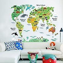 Wallpark Niños Educación Dibujos animados Animal Mapa del mundo Desmontable Pegatinas de Pared Etiqueta de la Pared, Sala Bebé Niños Hogar Infantiles Dormitorio Vivero Decorativas DIY Arte Murales