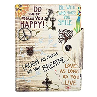 Arpan A5 Executive Personal Organiser Ruled Notebook, Life Inspirational Slogans'' Padded Leather Cover with Stud Button Closure (Slogan Cream)
