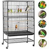 Yaheetech Extra Large 2 Tiers Bird Cage for Cockatoo/Parrot/Lovebird/Finch Bird Aviary with Perch Stand and Wheels