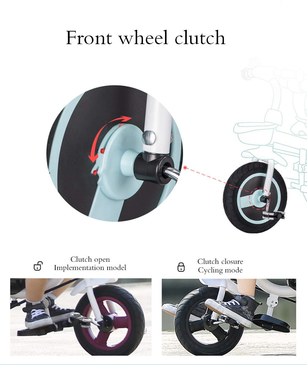 Children's Tricycle, Double-Sided Seat Stroller Adjustable Sun Visor Enlarged Storage Box Folding Pedal 3 to 6 Years Old Baby Indoor YYY ✅ 4-in-1 multi-function: two-way steering seat with push button unit. Push-pull, personalized putter multi-range adjustment putter to meet children of different heights, as the child grows, the tricycle can be adjusted to the fourth level. ✅ Durable material: This thrust tricycle is made of gem steel + environmentally friendly titanium empty wheel, with excellent strength, light resistance and anti-flaking adjustable awning. The tarpaulin material has a waterproof layer that blocks harmful ultraviolet rays, has a good sunscreen effect, and has mesh ventilation. ✅Safe design: The front wheel clutch has a two-stroke system. The steering linkage and quiet design effectively control the noise problems that may occur during implementation. Seat belt and guardrail and guardrail with double fixing pad 7