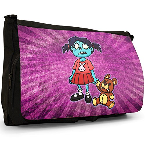 Zombie Living Walking Famiglia Dead – Borsa Tracolla Tela Nera Grande Scuola/Borsa Per Laptop Little Zombie Girl With Teddy