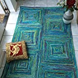 Green Decore Teppich aus recycelter Sari-Seide, 120 x 180 cm, Blau/Grün