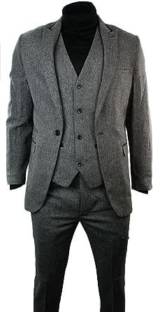 Mens Light Grey Herringbone Tweed Vintage Slim Fit 3 Piece Formal Suit Black Trim