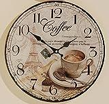 Wanduhr Coffee, mit Retro- Vintage- Bildmotiv im Shabby-Look auf dem Ziffernblatt, Thema: Kaffee- / Espresso-Bar, Durchmesser: 34cm, Material: Glas, Wandbefestigung, benötigt AA-Batterie (nicht inkl)