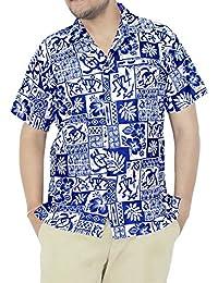 La Leela surfeurs millésime manches courtes bouton vers le bas surfer chemise casual xs bleu aloha hawaïen - 5xl