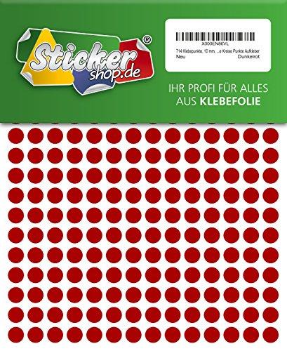 714Sticky puntos, 10mm, rojo oscuro, en PVC película resistente a la intemperie, codificación Dots, círculos, puntos adhesivos