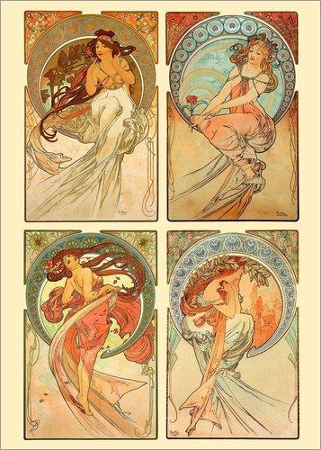 Poster 30 x 40 cm: Die vier Künste, Collage von Alfons Mucha - hochwertiger Kunstdruck, neues...