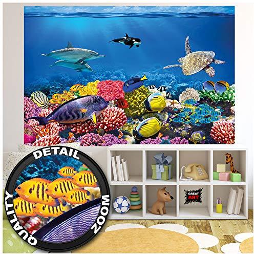 GREAT ART Fototapete - Aquarium - Wandbild Dekoration Farbenfrohe Unterwasserwelt Meeresbewohner Ozean Fische Delphin Korallen-Riff Clownfisch - Foto-Tapete Wandtapete (210x140 cm)