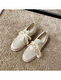 Zapatos blancos pequeños para mujer, otoño, versión nueva coreana, de la salvaje, de tacón bajo, de encaje, zapatos casuales, zapatos individuales, color beige)
