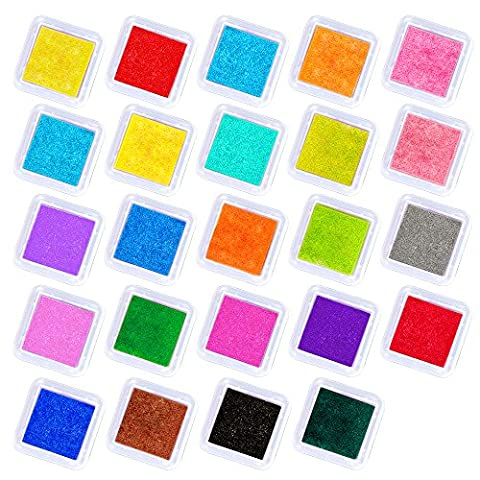 Elera 24 Colors Washable Craft Ink Pads for Rubbers Stamps Card (Inchiostro Nero Disegno)