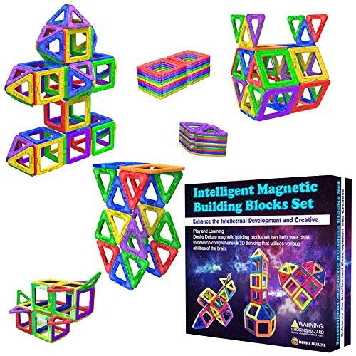 Desire Deluxe Magnetische Bausteine Magnet Montessori Spielzeug für Kinder 40PC Set Teilen ab 3 4 5 6 7 8 Alter Jahren, ideales Lernspielzeug für Mädchen Jungen Koordination und zum Bauen in Geschenk -