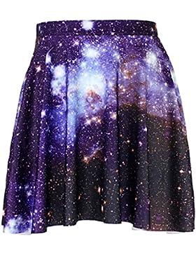 Honghu Verano Elegante Ajustada Impresión Mini Plisada Falda para Mujer
