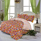 Viskar Fab Tex Japuri Rajasthani traditional cotton printed flower repeat motif double bed sheet with two pillow covers best price on Amazon @ Rs. 655