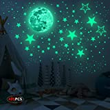 Realistic 3D Glow in The Dark Stickers, 435pcs Luminous Dots Stars and Moon DIY Wall Stickers for Ceiling Or Walls, Glow Brig