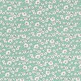 MIRABLAU DESIGN Stoffverkauf Baumwolle Batist kleine filigrane Blumen auf türkis (4-172M), 0,5m