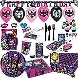 Mega Monster High Partyset 246tlg. Teller Becher Servietten Tischdecke Einladung Partytüten Muffinset und Viel Deko für 12 Gäste