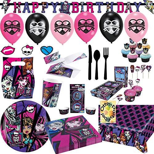 (Mega Monster High Partyset 194tlg. Teller Becher Servietten Tischdecke Einladung Partytüten Muffinset und Viel Deko für 6 Gäste)