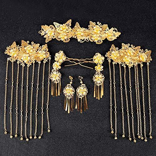 Littlefairy Chinesische Braut Phoenix Kopfbedeckungen sechsköpfigen Anzug Zeigen Wo Kleidung Kostüm Haarschmuck Haarnadel Vintage Braut ()